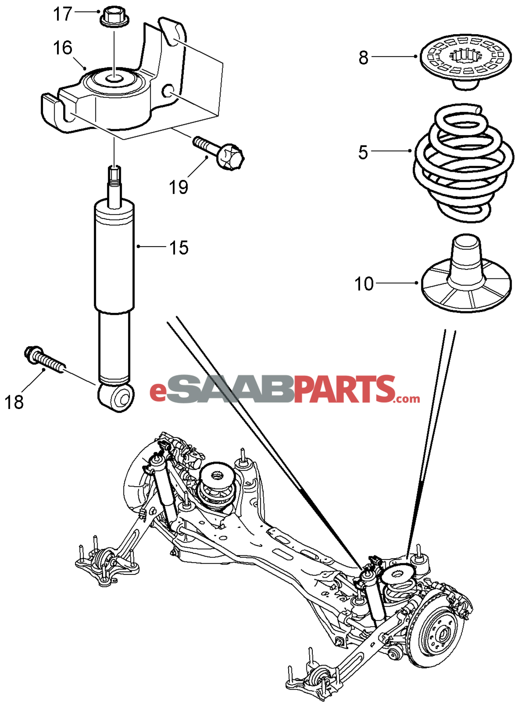 hight resolution of 90538496 saab spring support rear genuine saab parts from saab 9 5 front suspension diagram saab suspension diagram
