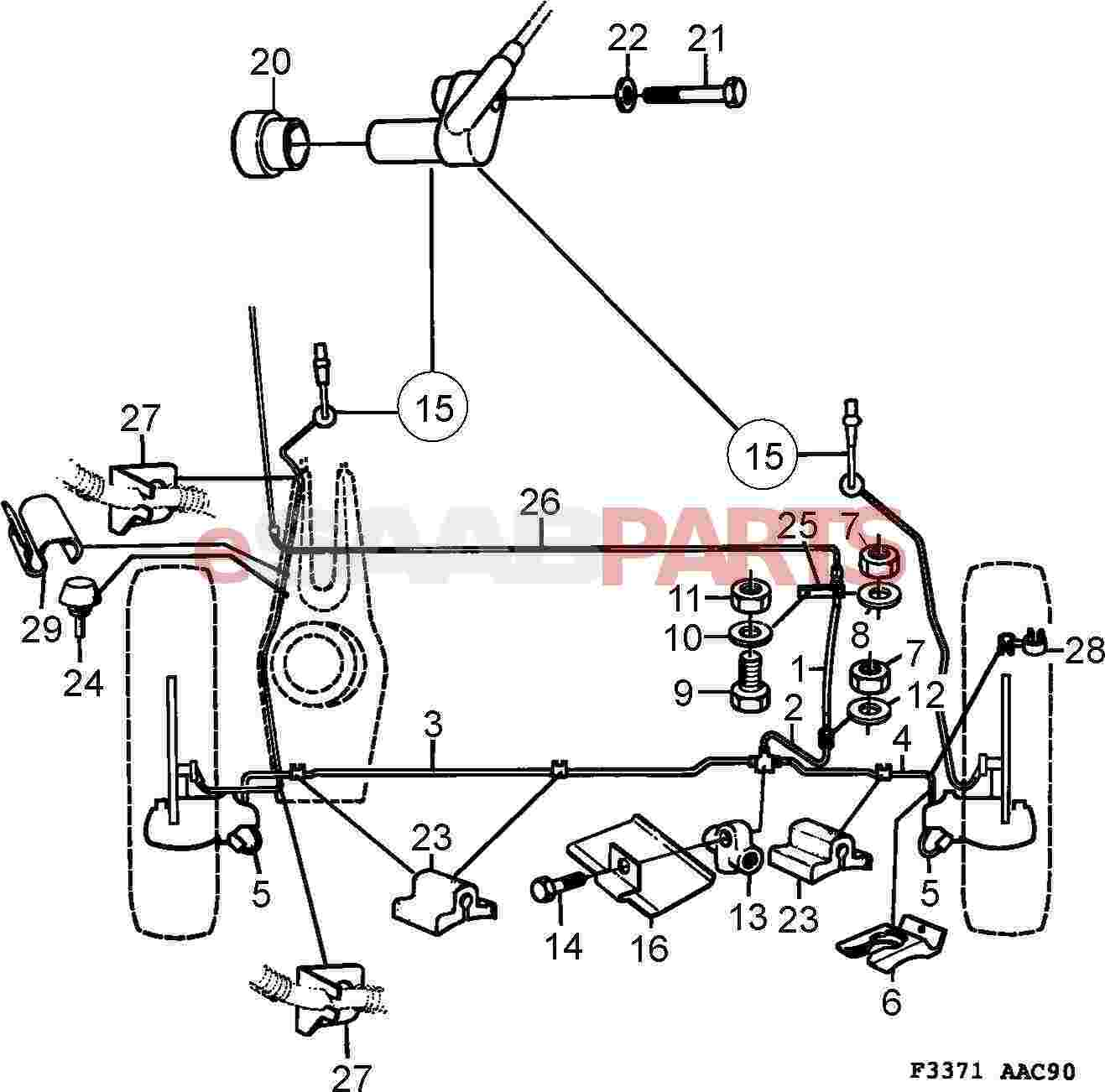 Service manual [1993 Saab 900 Diagram Showing Brake Line