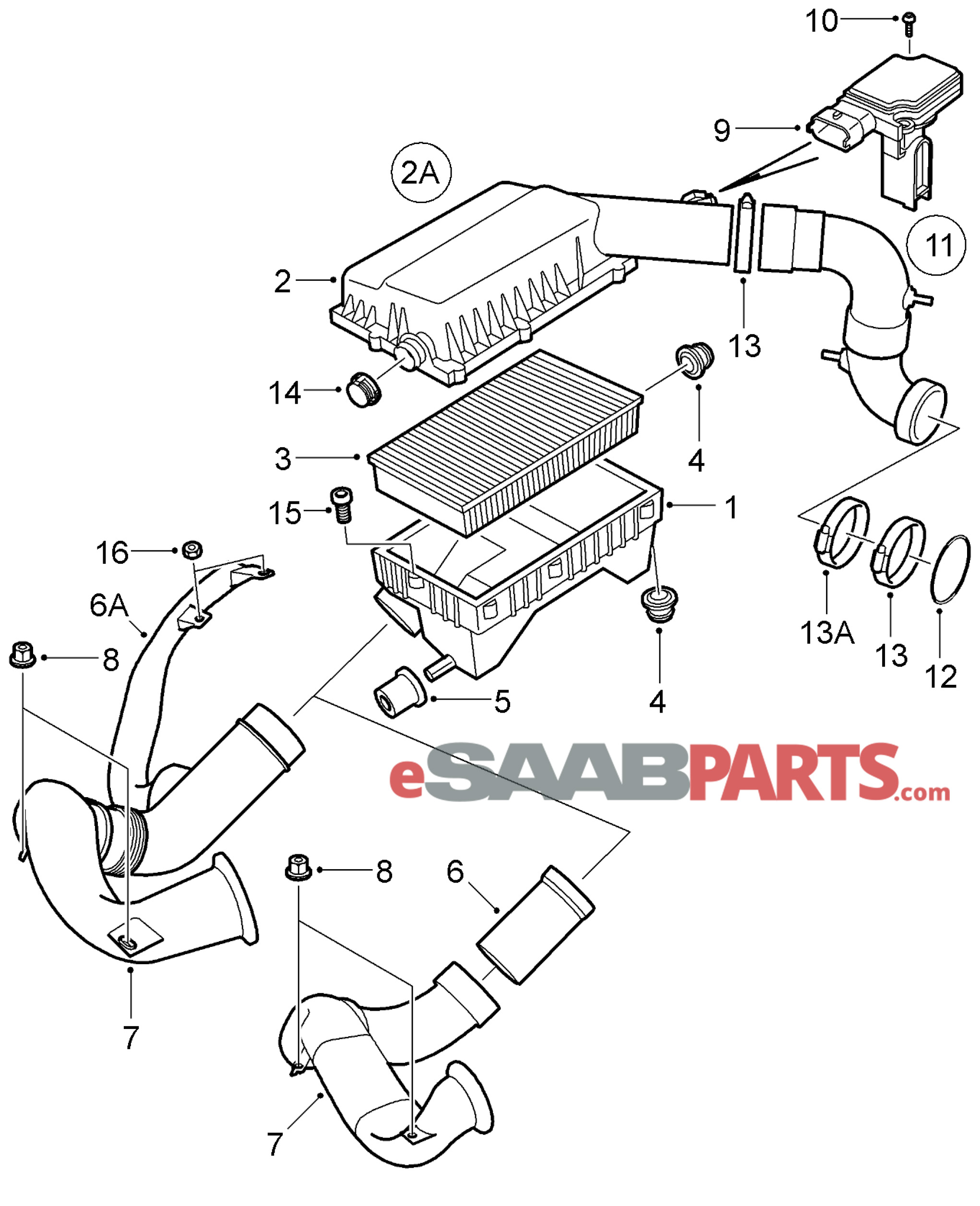 12788131 saab mass air flow sensor genuine saab parts from rh esaabparts saab 93 parts diagram saab parts breakdown