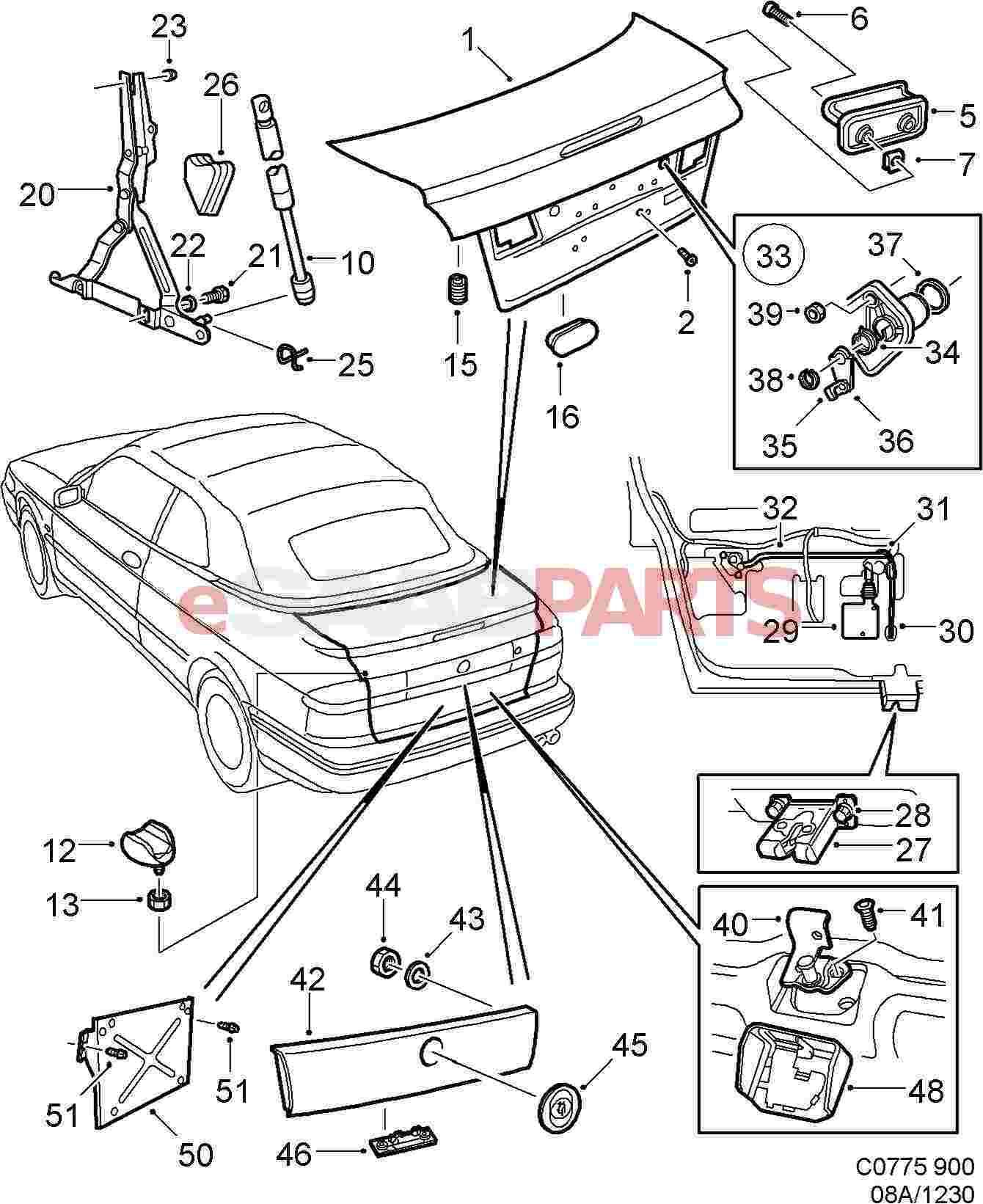 Esaabparts saab 900 > car body external parts > trunk related > trunk lid lock