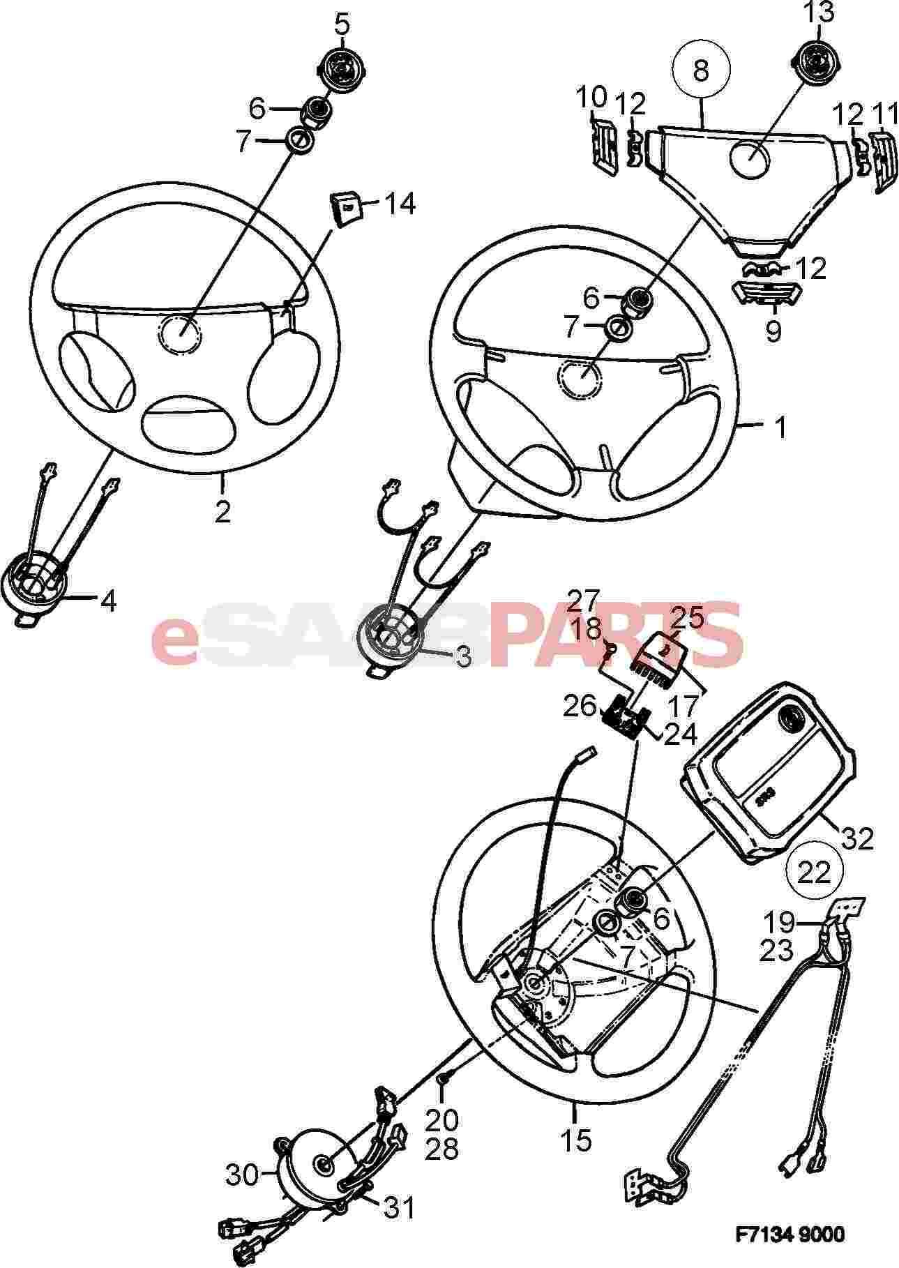 Saab Horn Button