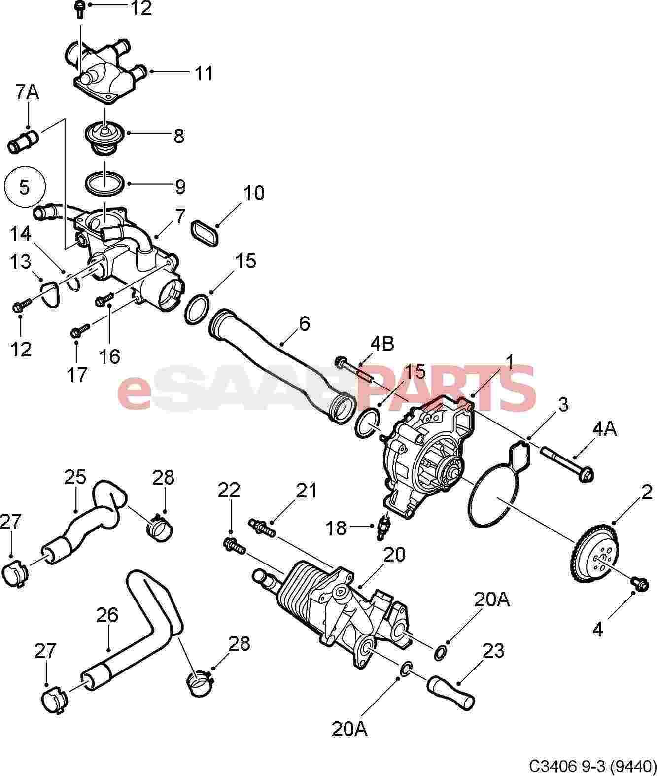 hight resolution of esaabparts com saab 9 3 9440 engine parts water pump thermostat water pump thermostat b207