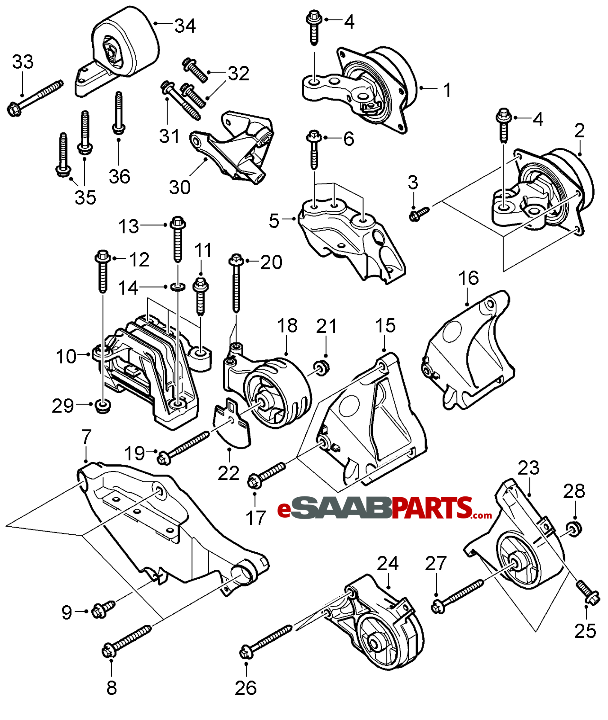 [12777976] SAAB Engine Mount Attachment Bracket LH w/ XWD