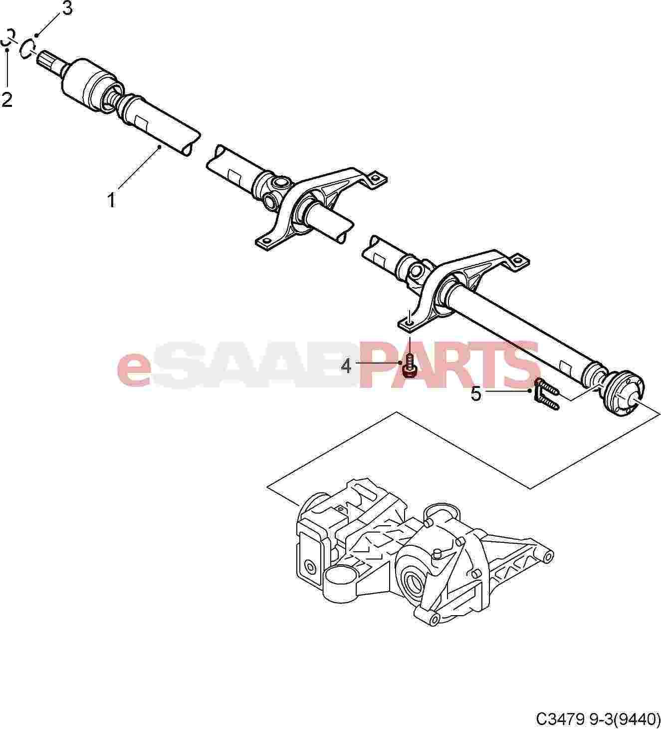 [12827398] SAAB XWD 9-3 Drive Shaft / Prop Shaft (3-Piece