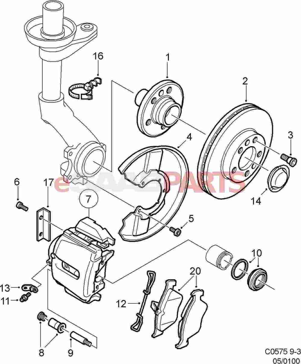 medium resolution of esaabparts com saab 9 3 9400 u003e brakes parts u003e front brakesesaabparts