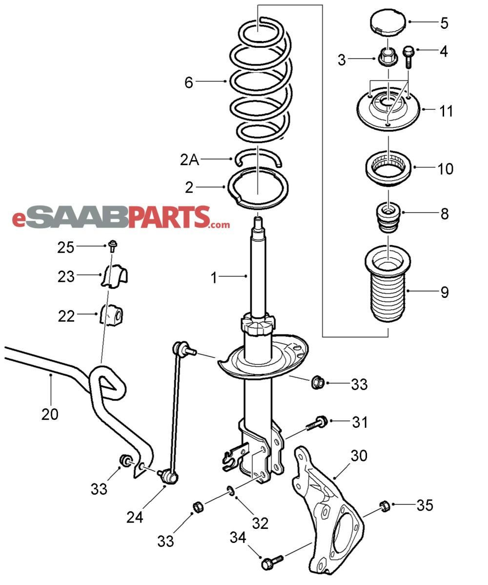 medium resolution of esaabparts com saab 9 3 9440 suspension wheels parts front suspension front suspension 03 05