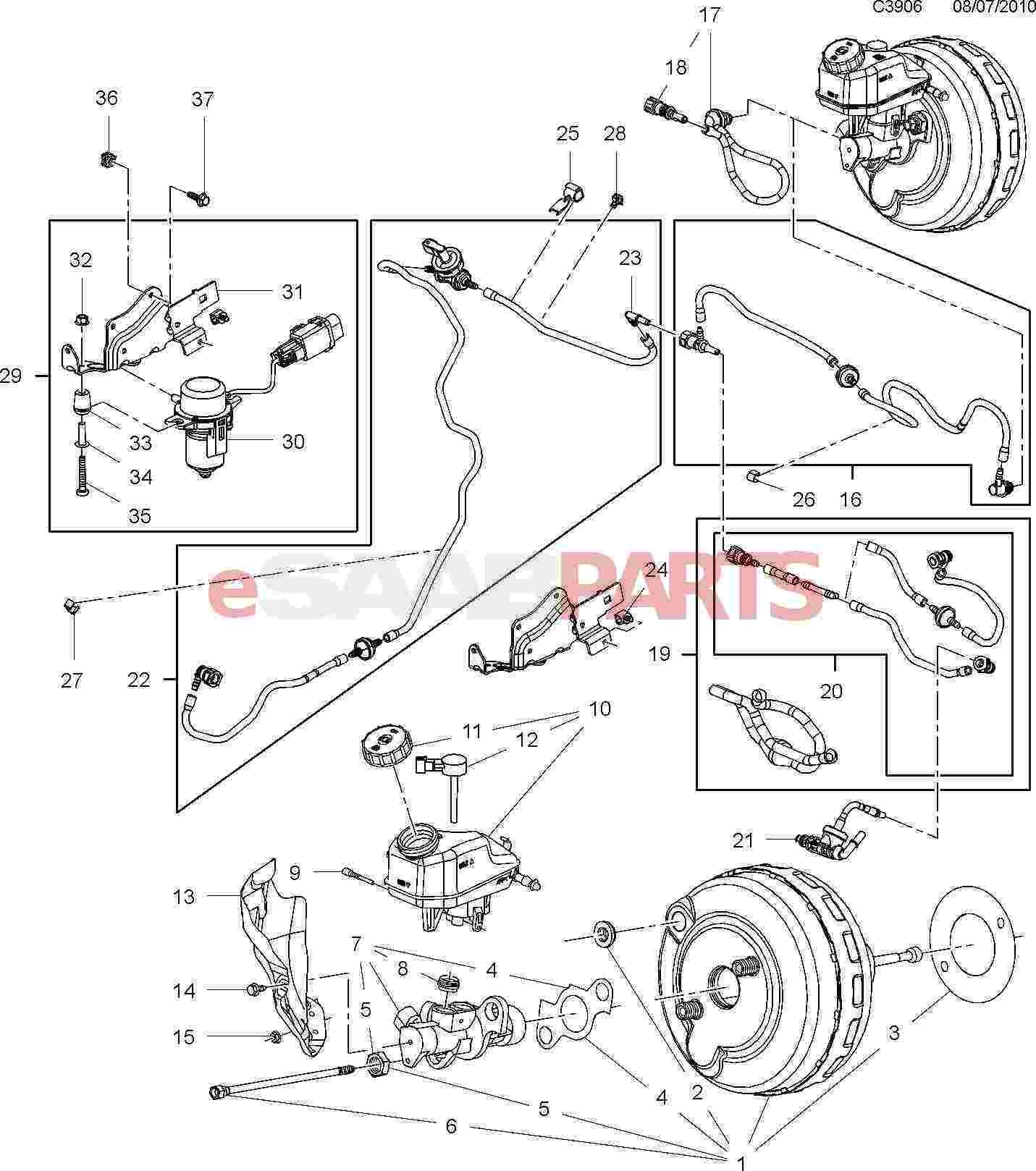 [55556698] SAAB Brake Vacuum Hose Pipe (Rear of Intake