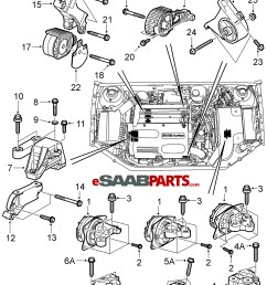 esaabparts com saab 9 3 9440 engine parts engine mounts engine transmission mounts b207  [ 2013 x 2476 Pixel ]