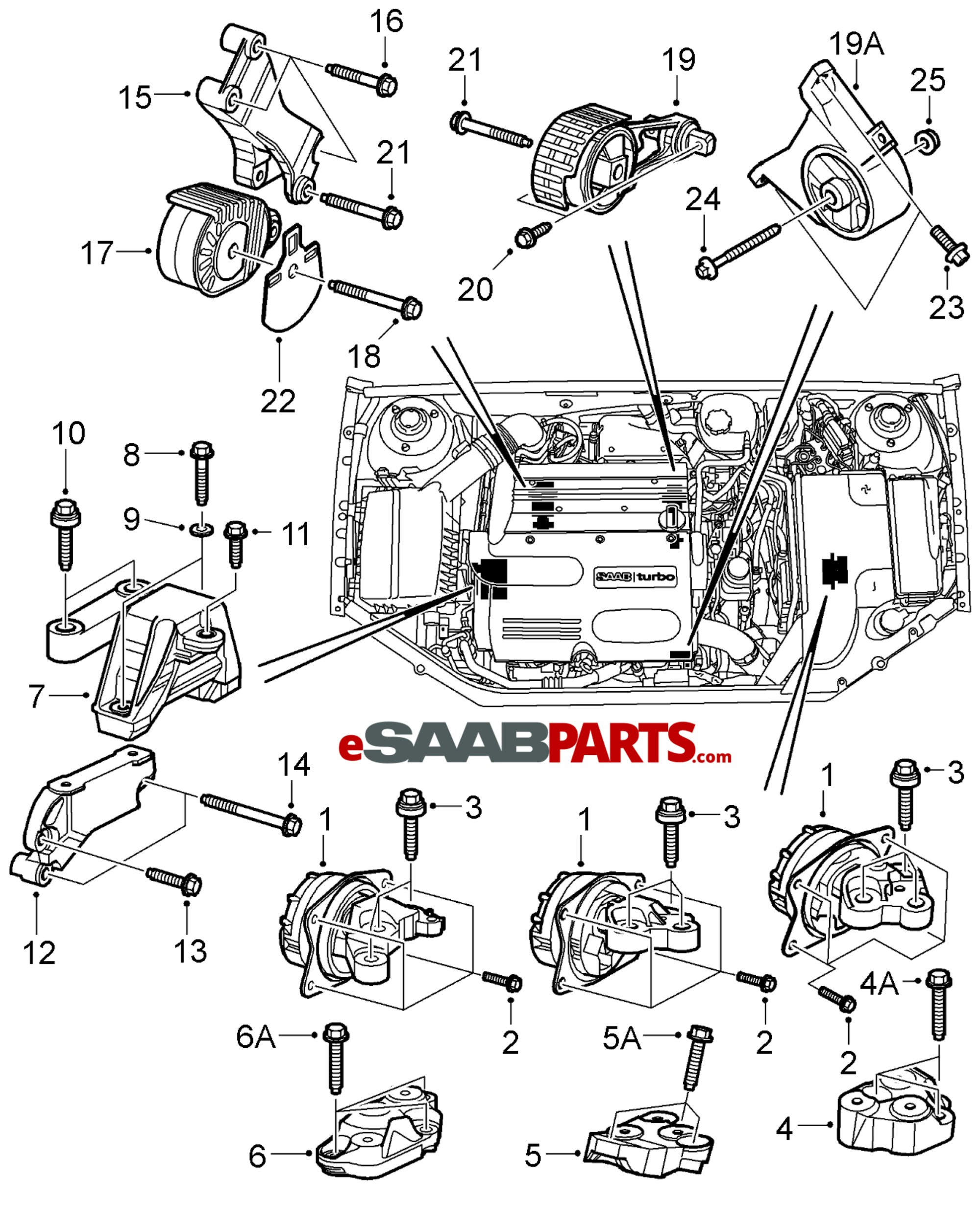 hight resolution of esaabparts com saab 9 3 9440 engine parts engine mounts engine transmission mounts b207