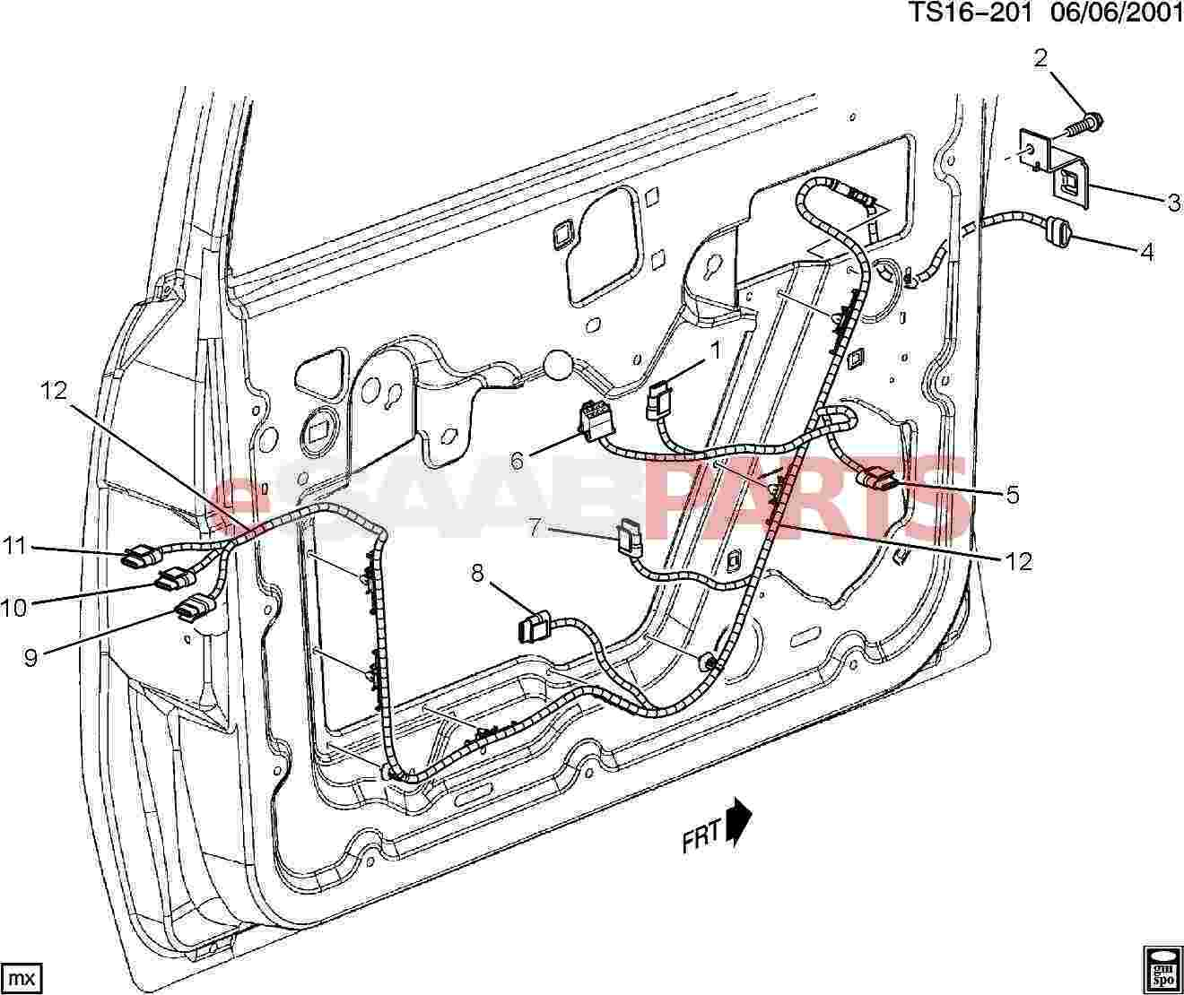 hight resolution of esaabparts com saab 9 7x electrical parts wiring harness wiring harness front side door