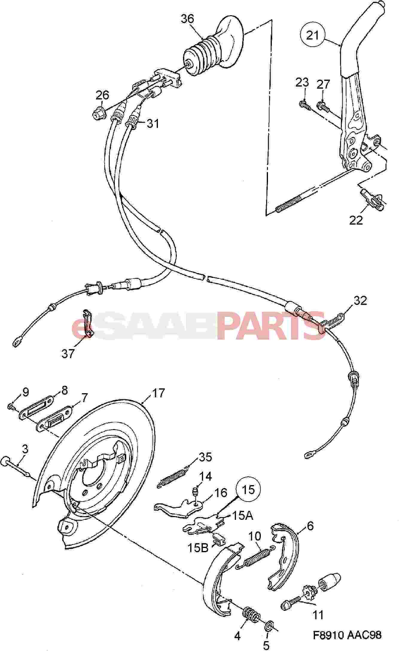 Service manual [1992 Saab 900 Diagram Showing Brake Line