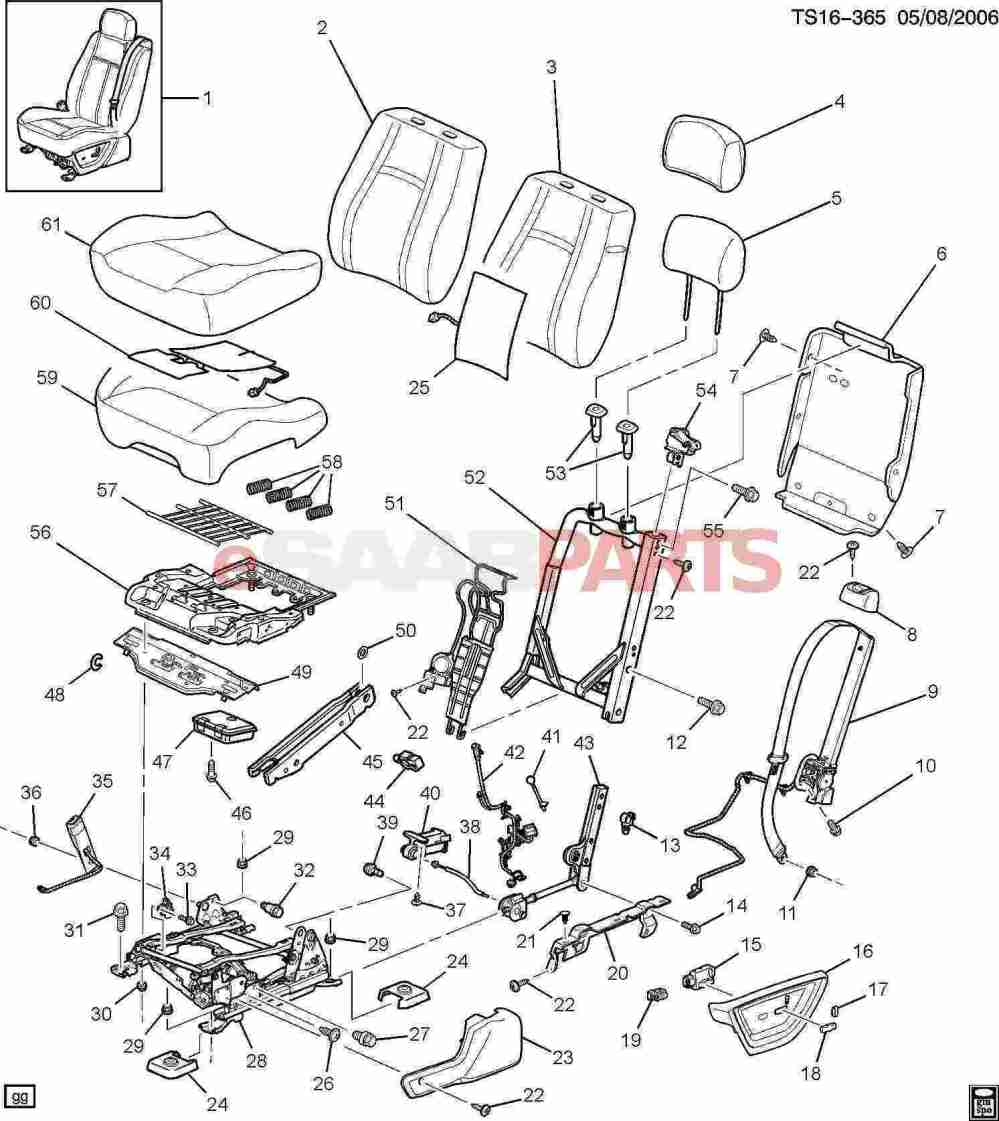 medium resolution of esaabparts com saab 9 7x car body internal parts seat assembly driver seat bucket