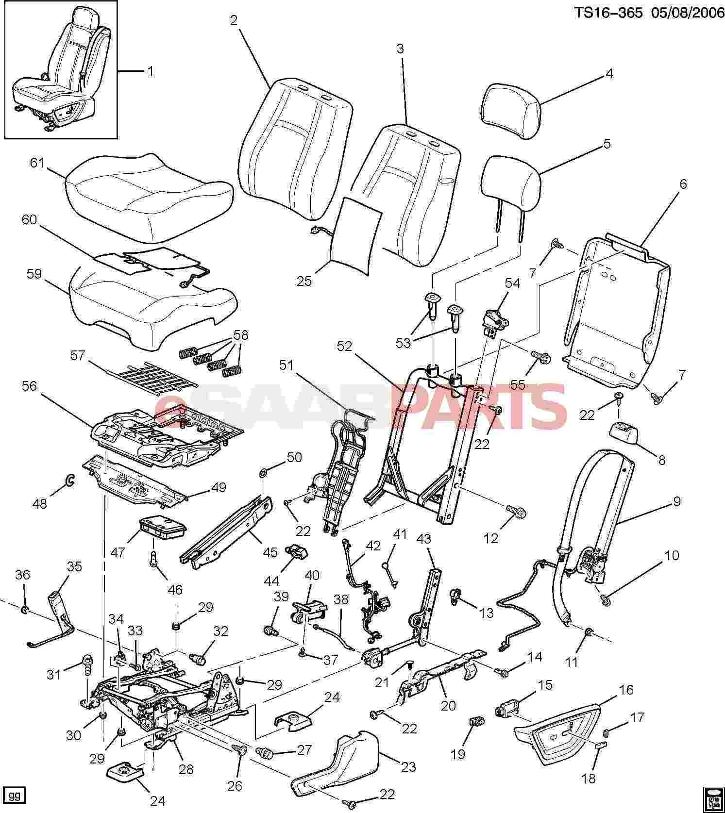 hight resolution of esaabparts com saab 9 7x car body internal parts seat assembly driver seat bucket