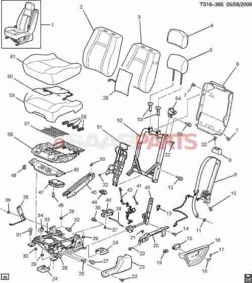 small resolution of esaabparts com saab 9 7x car body internal parts seat assembly driver seat bucket