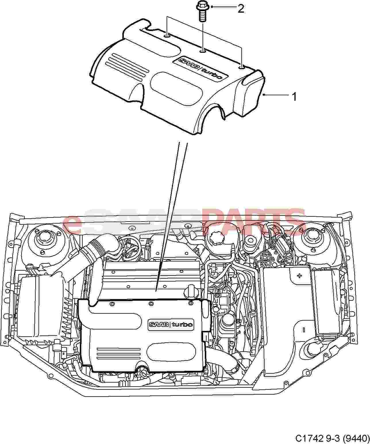 saab 9 5 engine diagram wiring junction box light 3 bay and