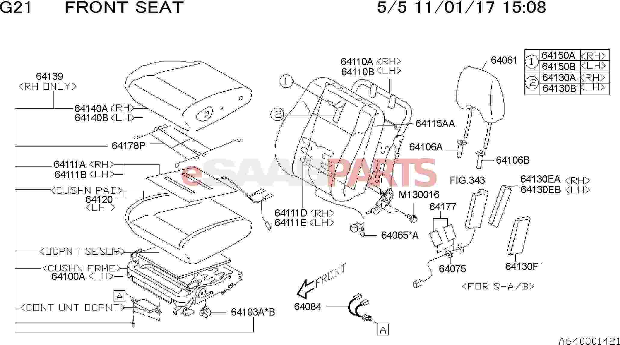 [32007828] SAAB Cover Assembly-front Back Rest, Right