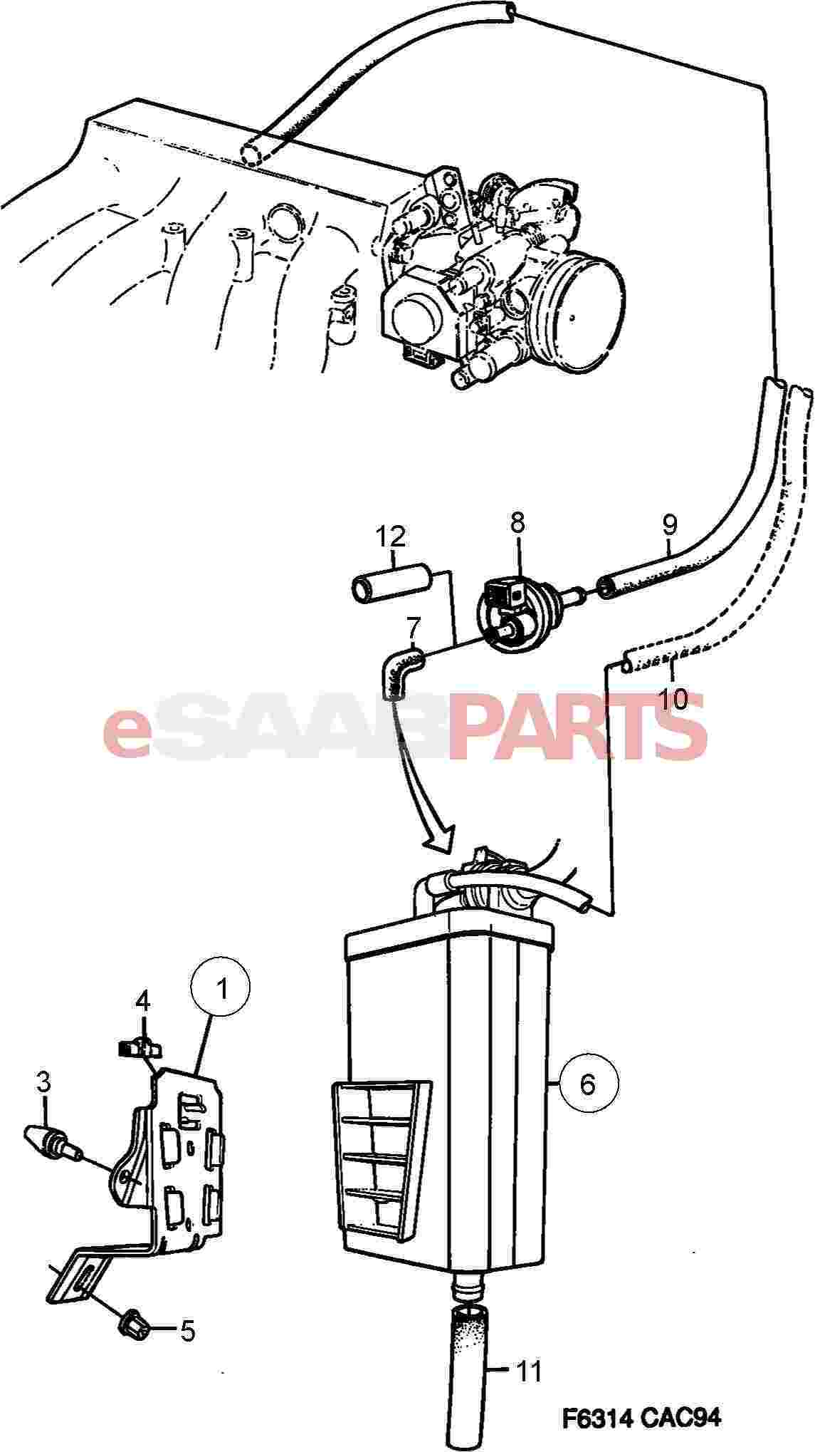 Saab Evaporative Emission Canister