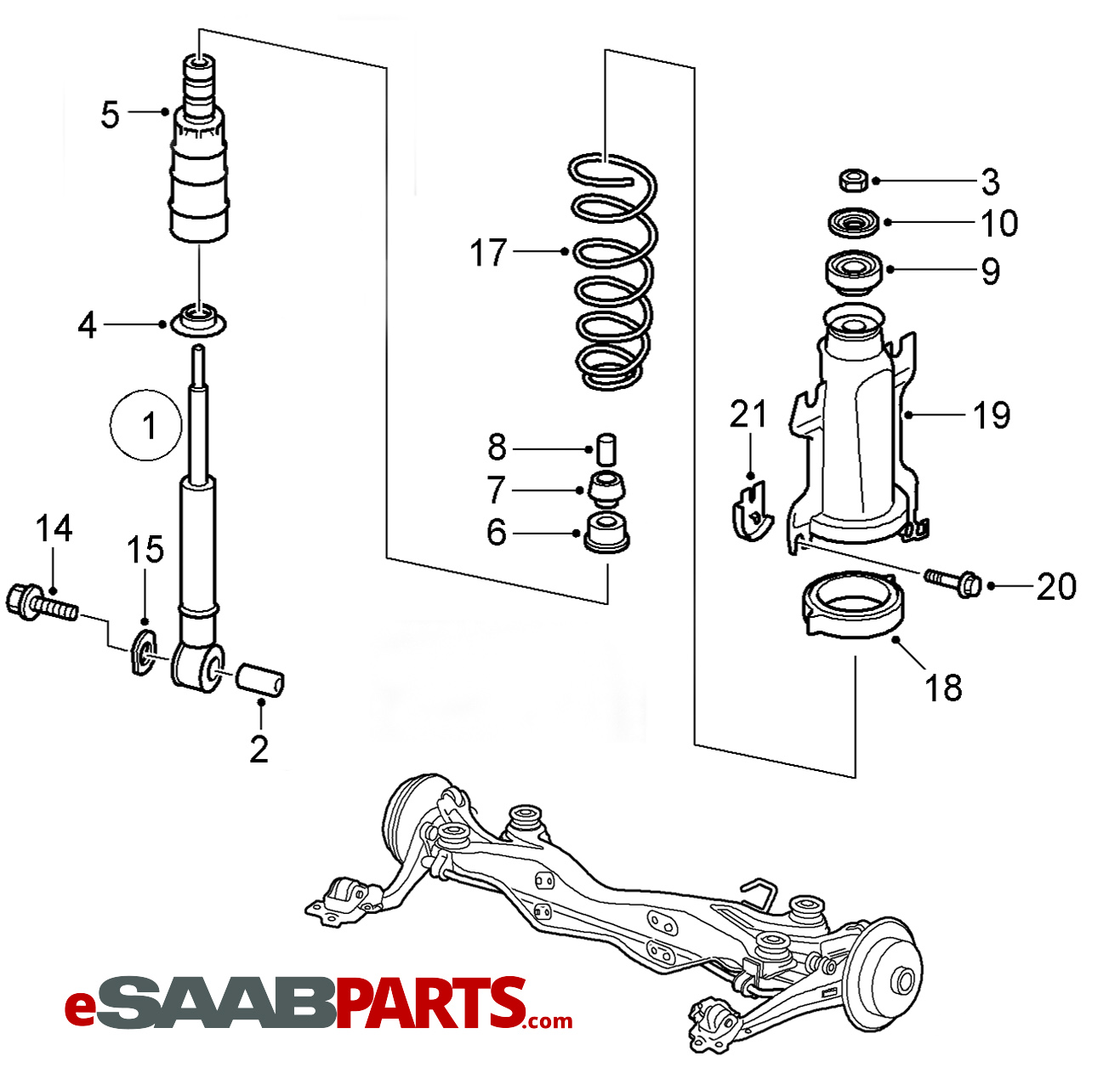 hight resolution of esaabparts com saab 9 5 9600 suspension wheels parts suspension rear rear springs 2006 2009
