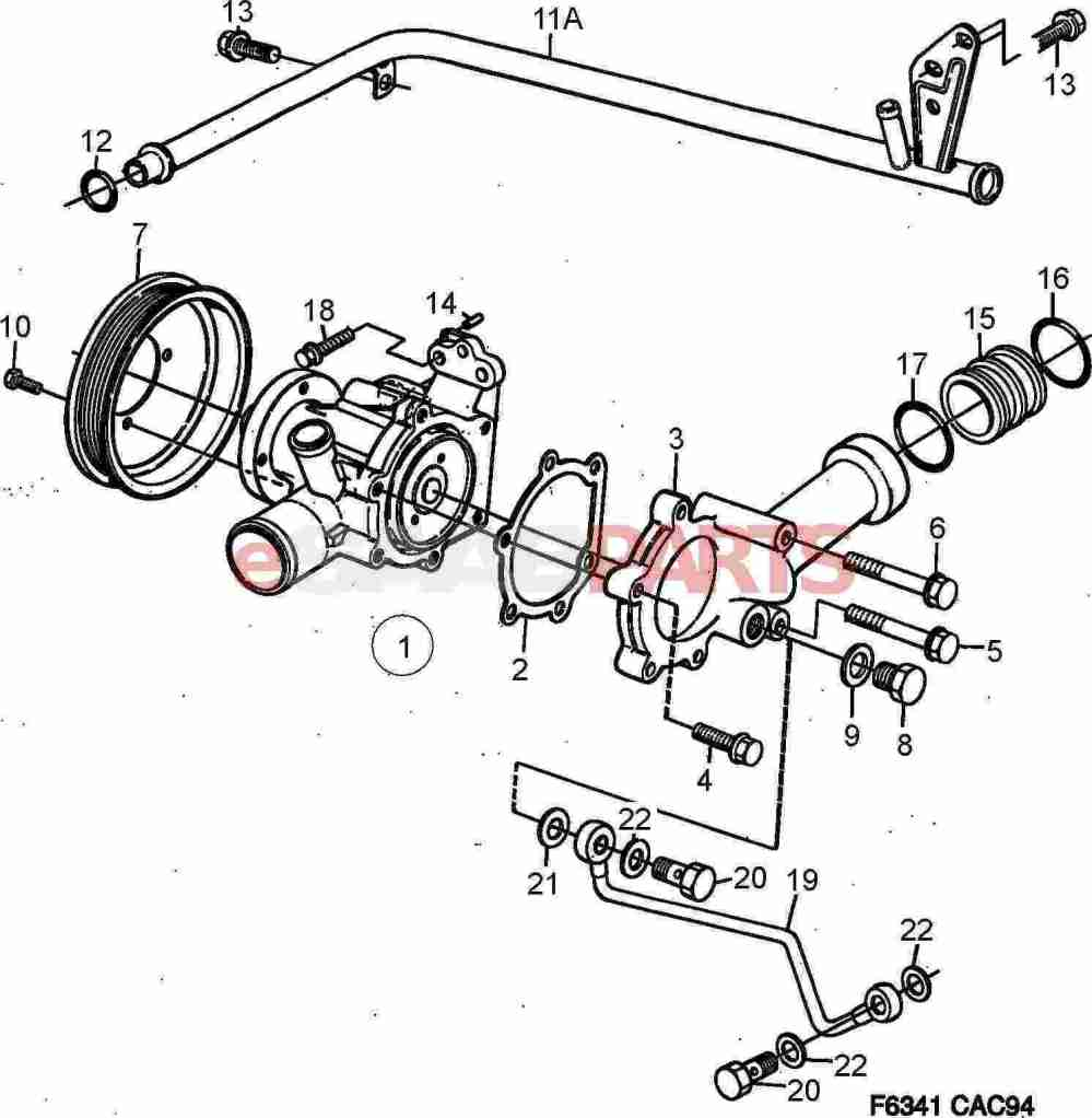 medium resolution of esaabparts com saab 9000 engine parts heating cooling system coolant pump 4 cylinder