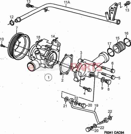small resolution of esaabparts com saab 9000 engine parts heating cooling system coolant pump 4 cylinder