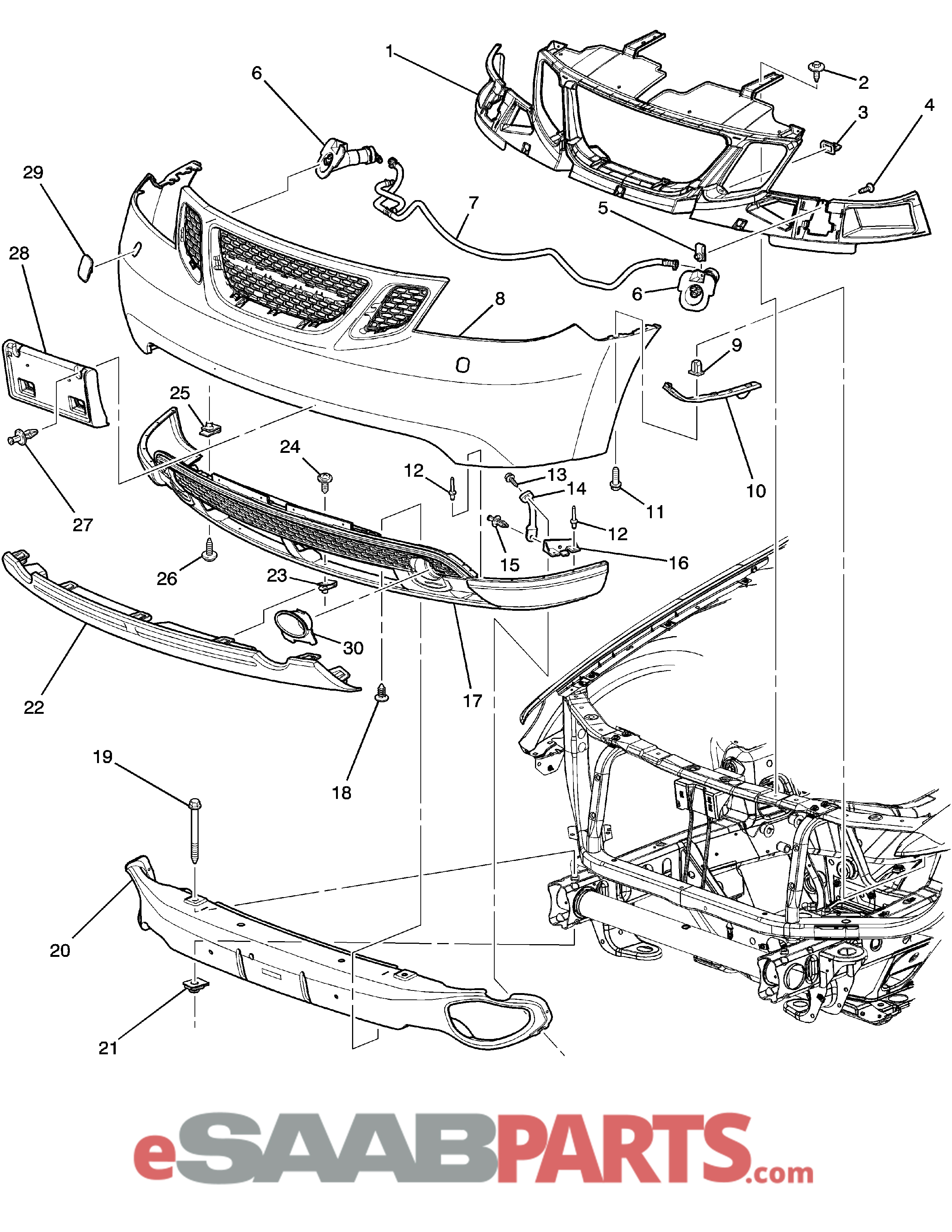 [19148957] SAAB 9-7X Front Bumper Cover (w/o Headlamp