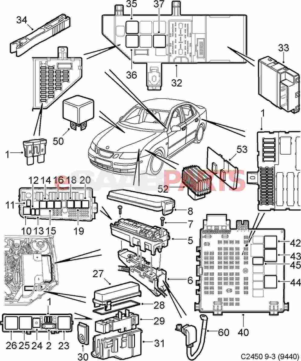 medium resolution of esaabparts com saab 9 3 9440 electrical parts relays fuses 2005 saab 9 3 convertible fuse diagram