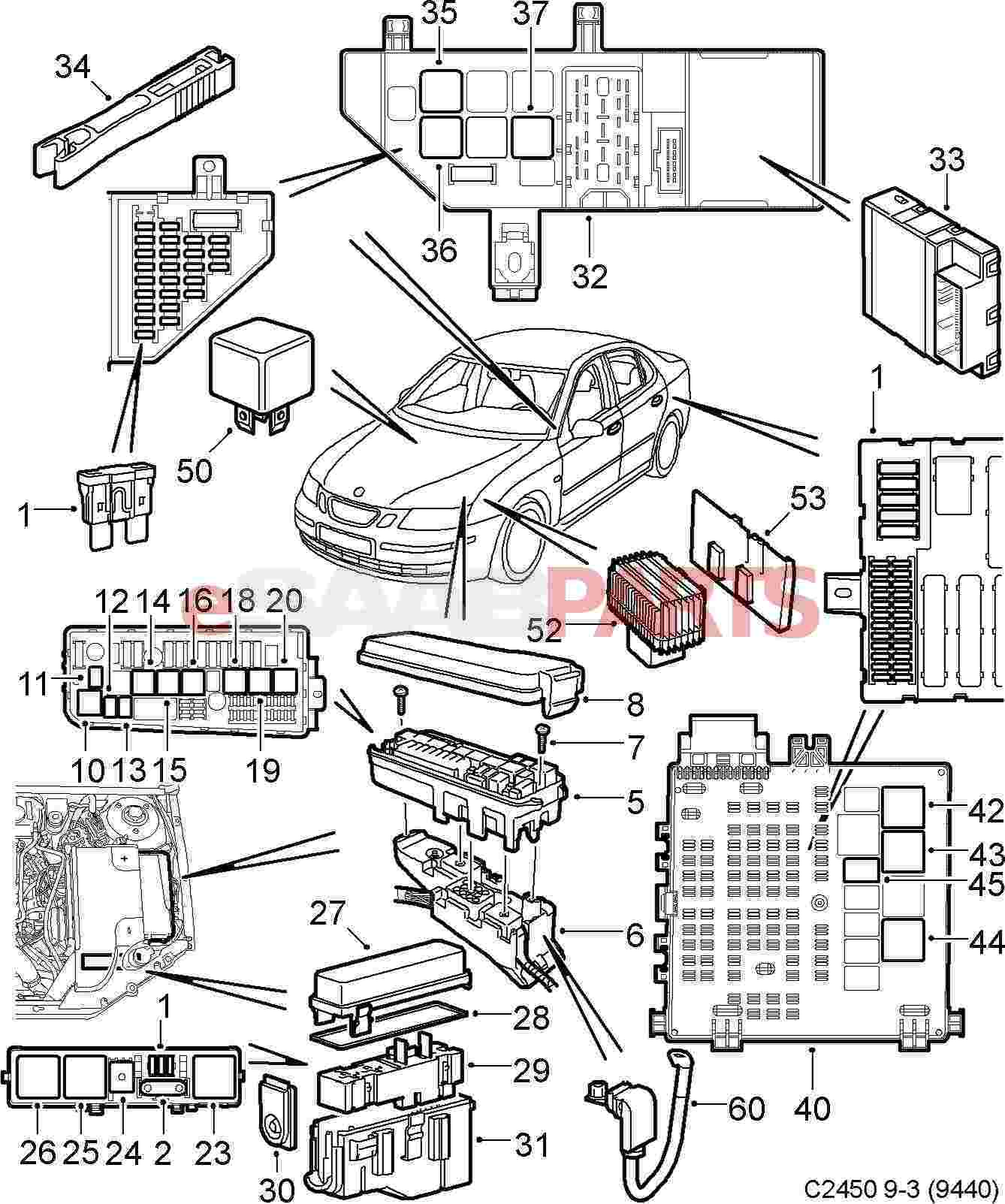 hight resolution of esaabparts com saab 9 3 9440 electrical parts relays fuses 2005 saab 9 3 convertible fuse diagram