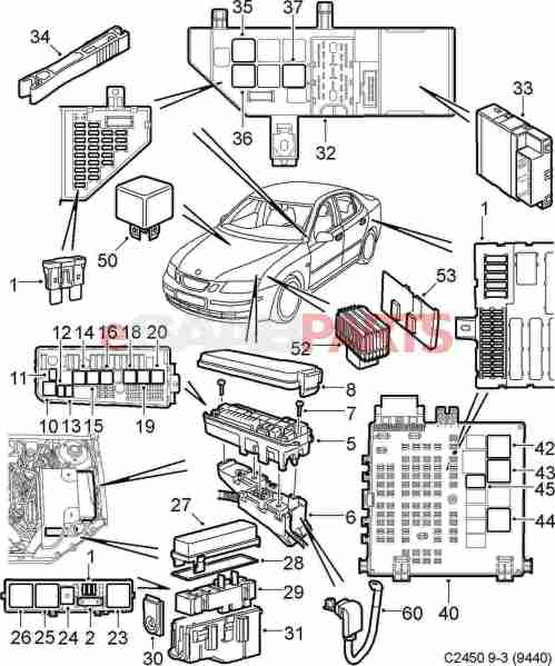 small resolution of esaabparts com saab 9 3 9440 electrical parts relays fuses 2005 saab 9 3 convertible fuse diagram