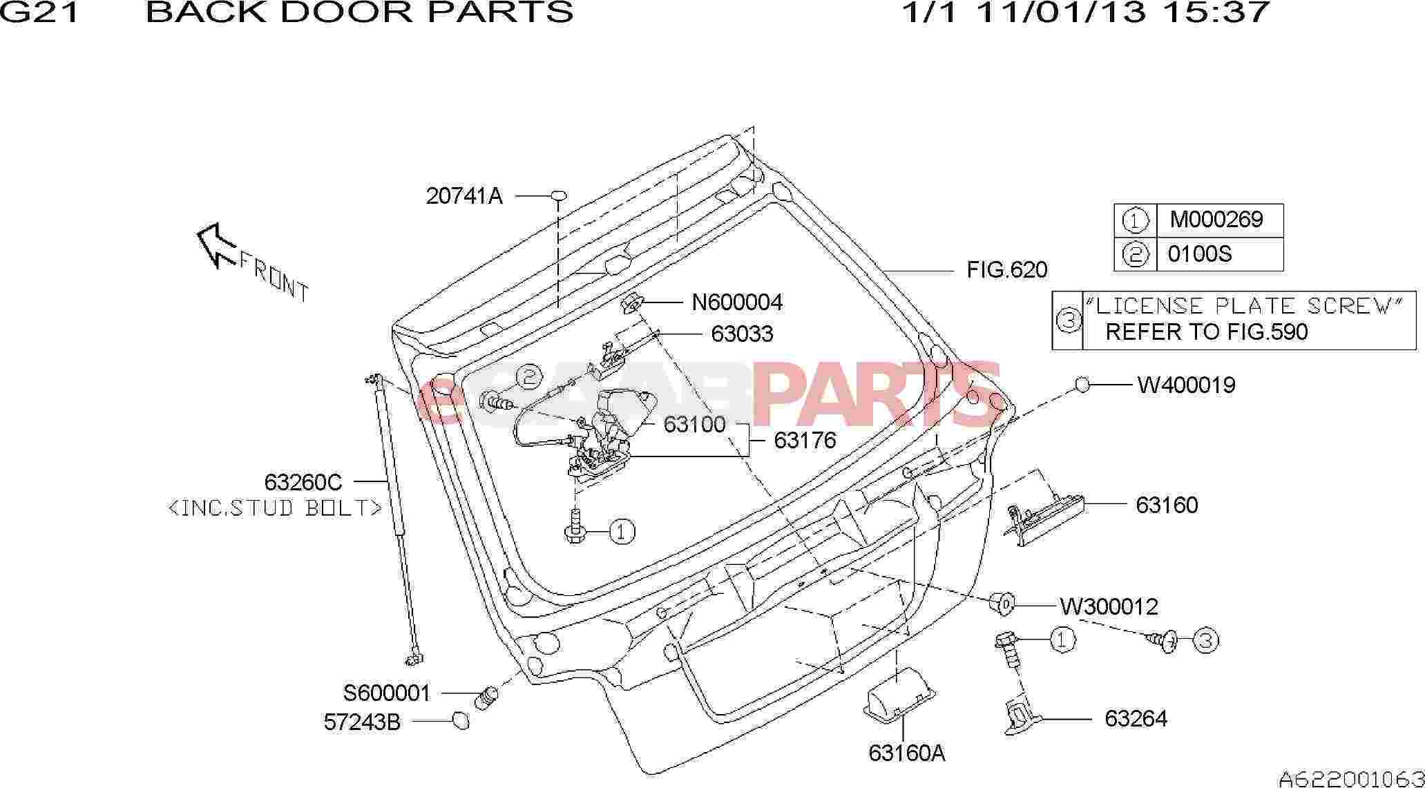 Saab Handle Assembly Rear Gate Outer