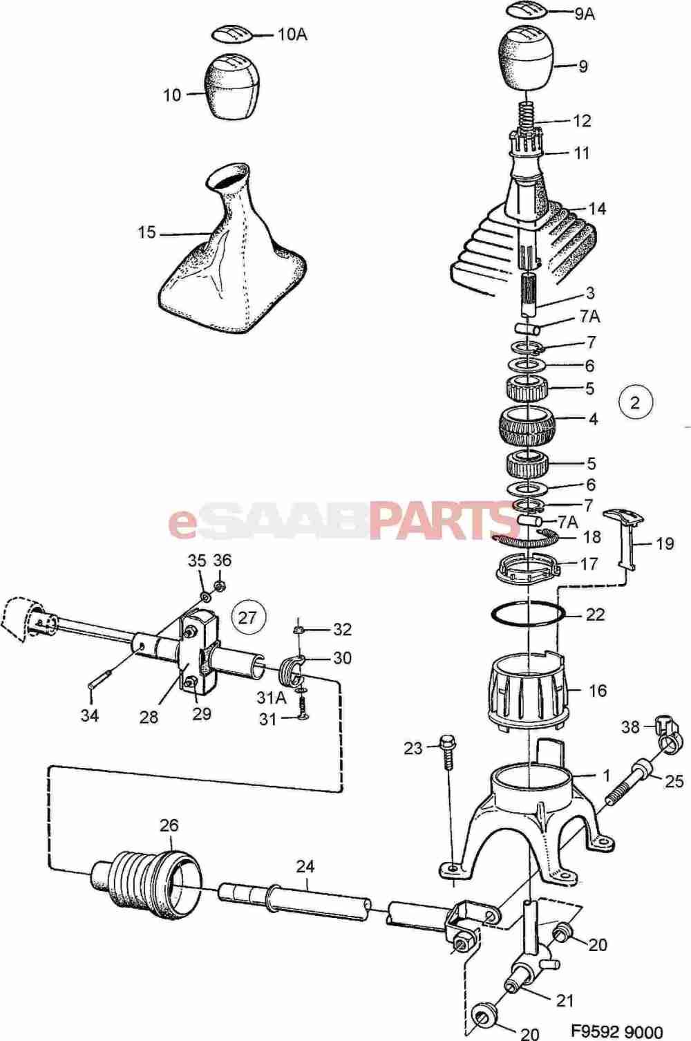 medium resolution of esaabparts com saab 9000 transmission parts transmission manual gear shift lever