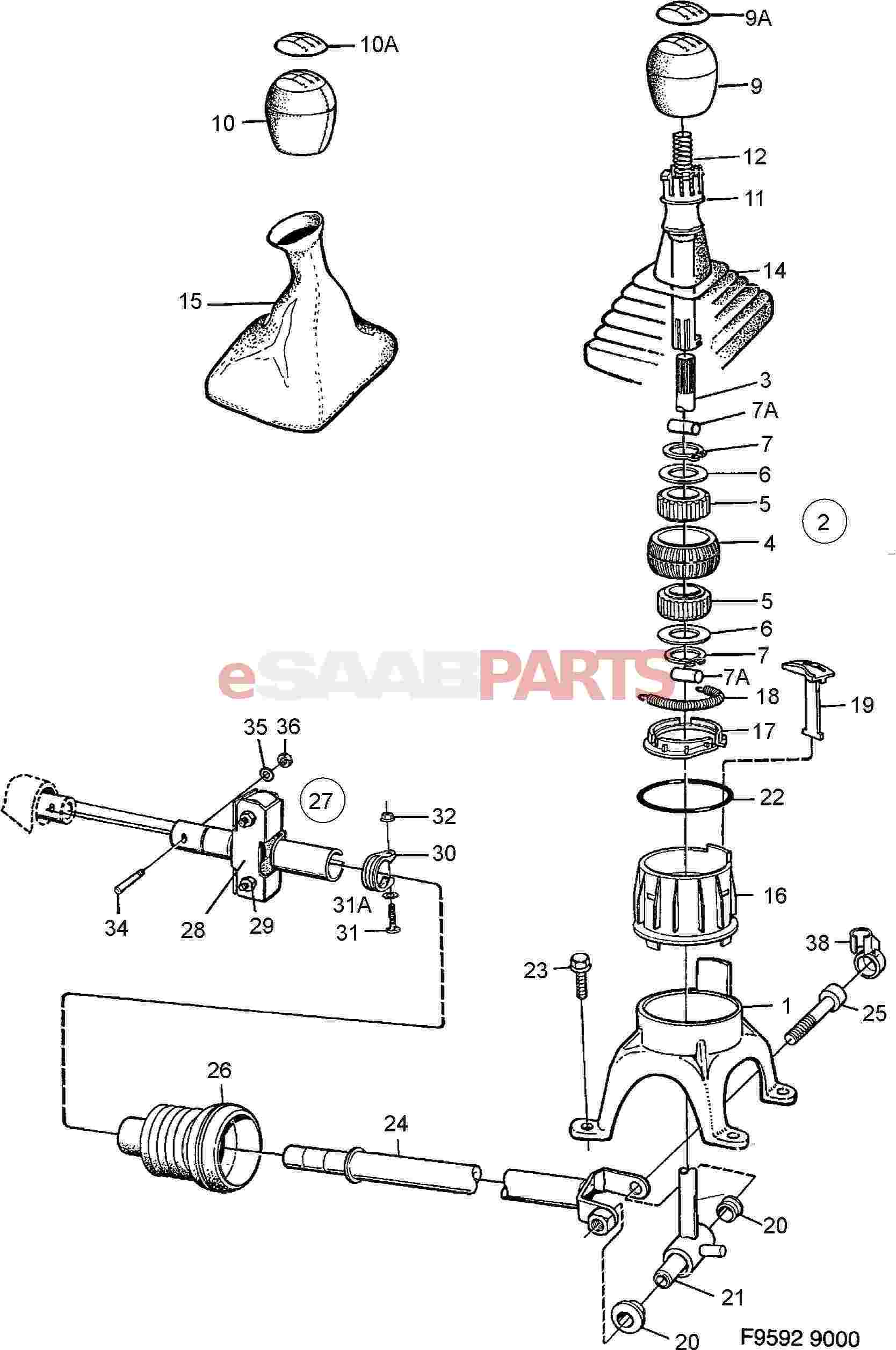 hight resolution of esaabparts com saab 9000 transmission parts transmission manual gear shift lever