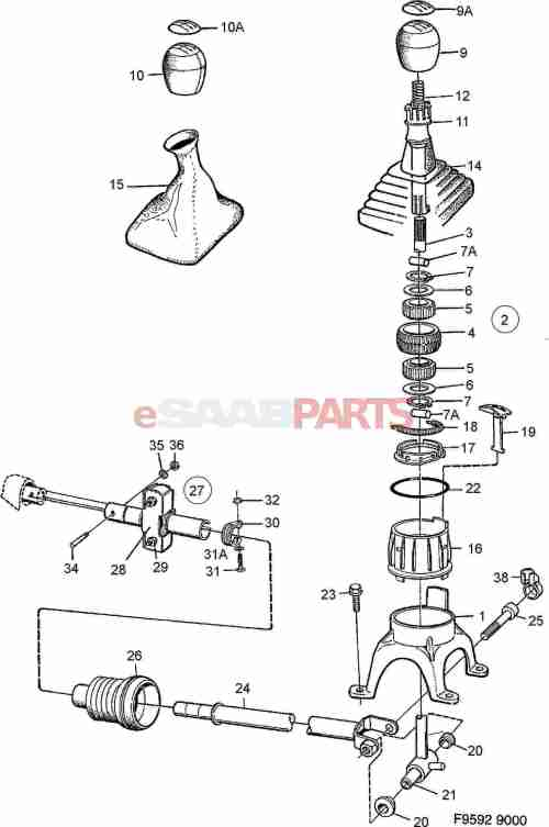 small resolution of esaabparts com saab 9000 transmission parts transmission manual gear shift lever