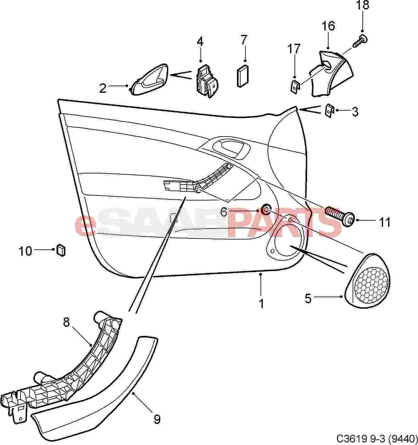 door handle parts diagram usb 2 0 wiring 12803219 saab inner front lh genuine