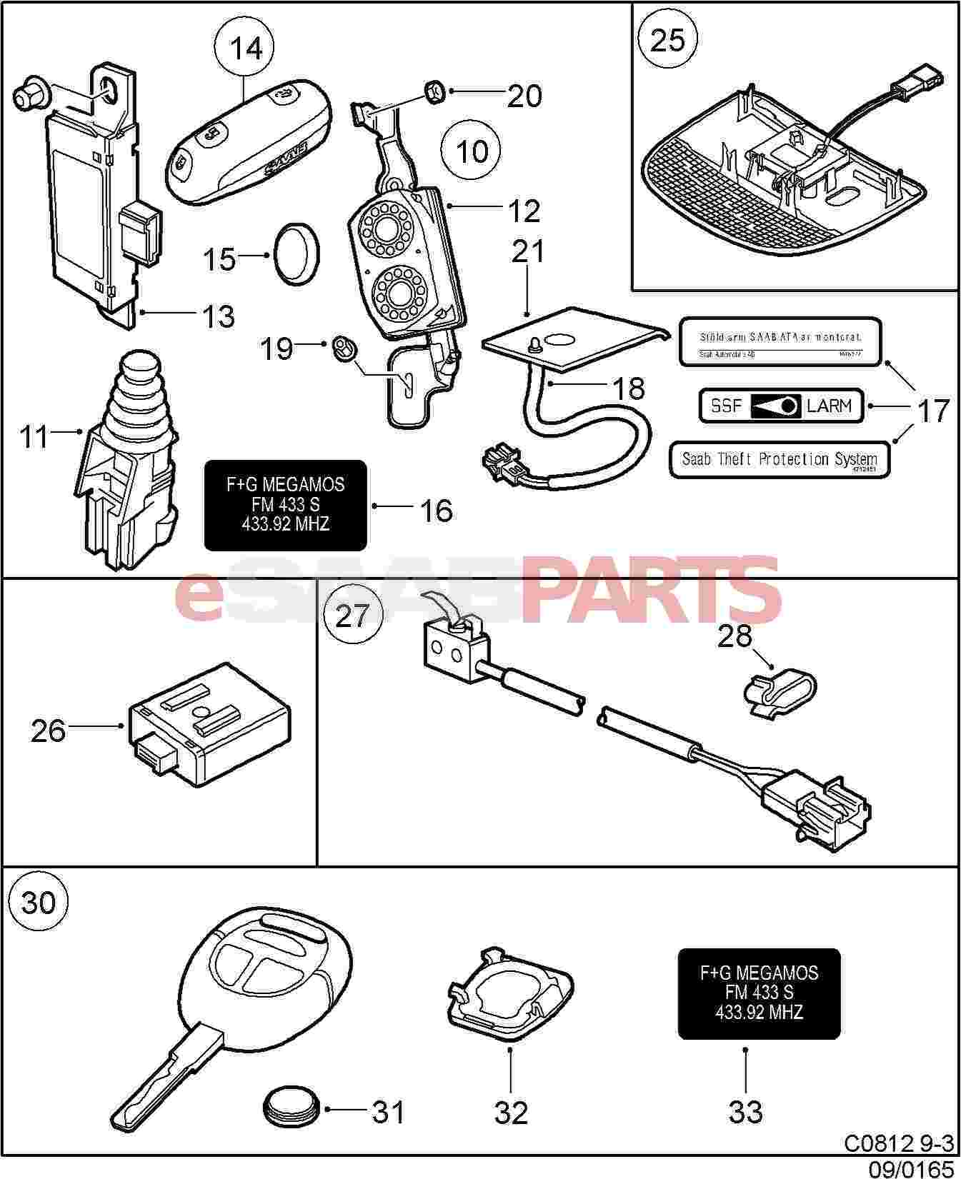 [400128906] SAAB Saab Key Kit (Cut) 99-03 9-5/9-3OG