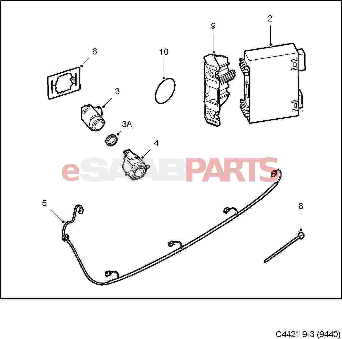 [32026045] SAAB Parking Assistance Kit (08-11 9-3