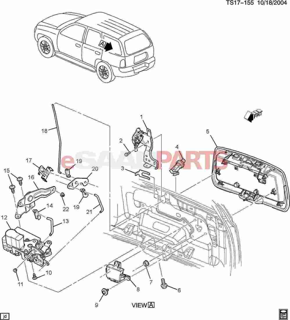 medium resolution of esaabparts com saab 9 7x car body external parts trunk related liftgate hardware part 2 lock detail