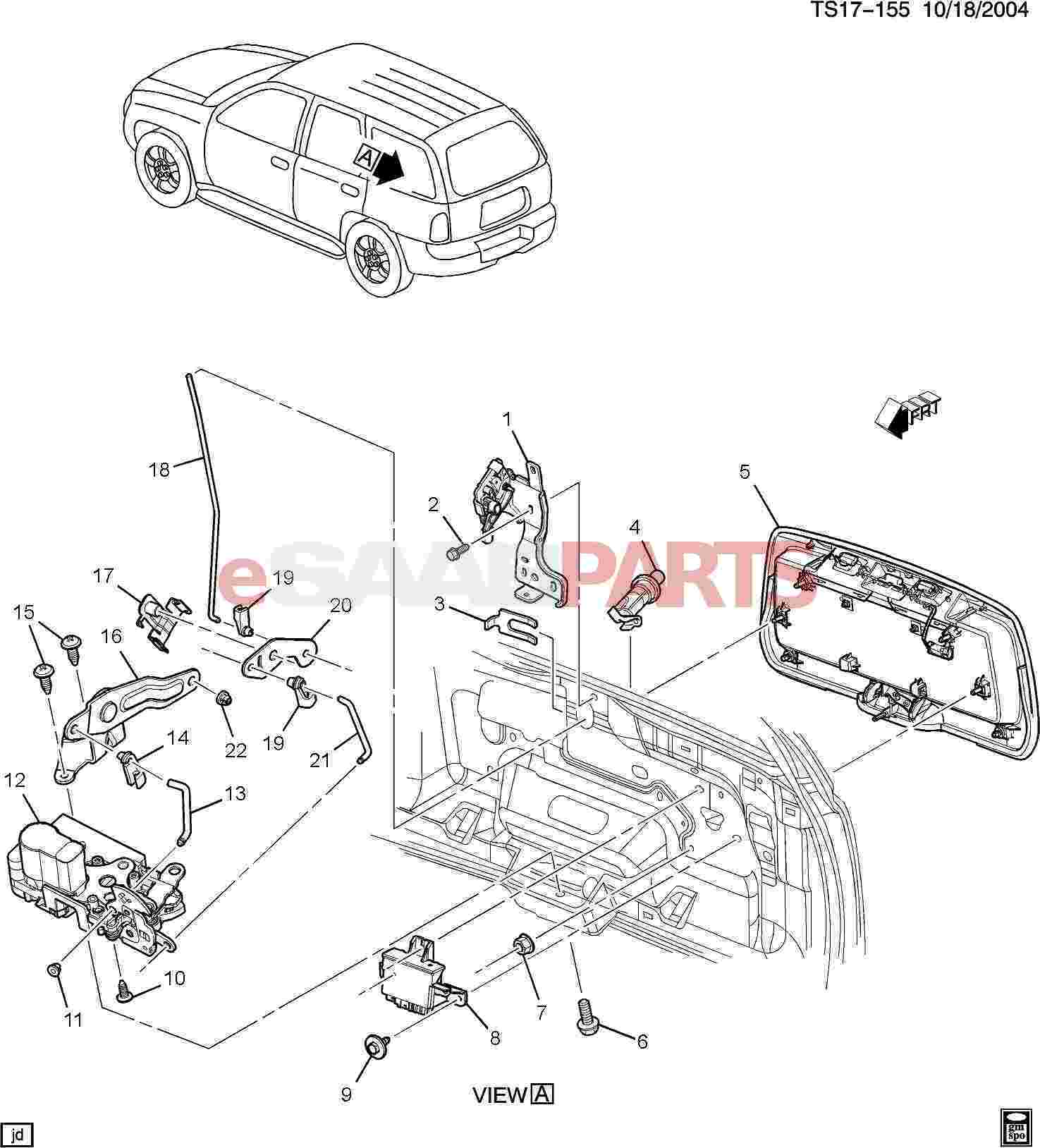 hight resolution of esaabparts com saab 9 7x car body external parts trunk related liftgate hardware part 2 lock detail