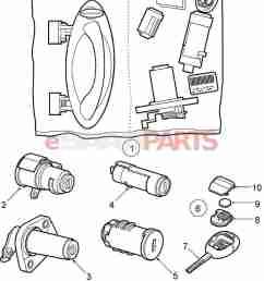 esaabparts com saab 9 5 9600 car body external parts locks related lock lock cylinder set [ 1300 x 1609 Pixel ]