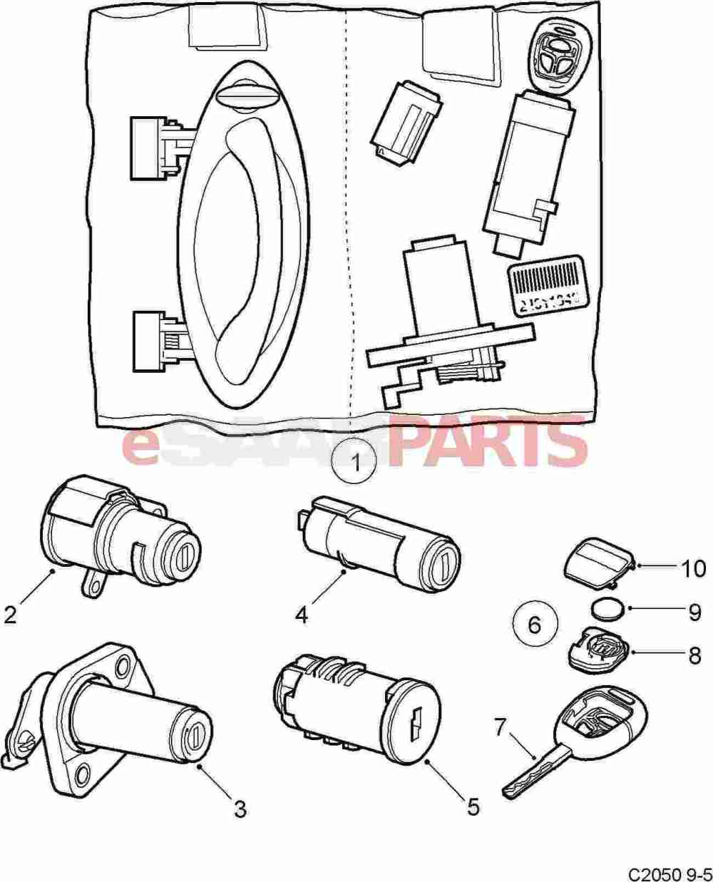medium resolution of esaabparts com saab 9 5 9600 car body external parts locks related lock lock cylinder set