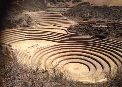 Portals ~ Moray, Peru ~ August 2014 </br> This place is referred to as an ancient portal. Modern academics cannot explain what these concentric circles were constructed for. I thoroughly enjoy exploring mysteries like this one. They are often anomalies that make cracks into academic paradigms, forcing us to rethink what we thought we knew. After I took this picture, I climbed down this cliffside and lay in the center of this portal for a long while, just being.