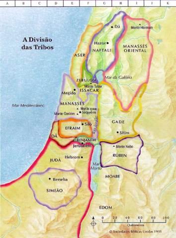 12 tribos de israel, mapa, divisão da terra