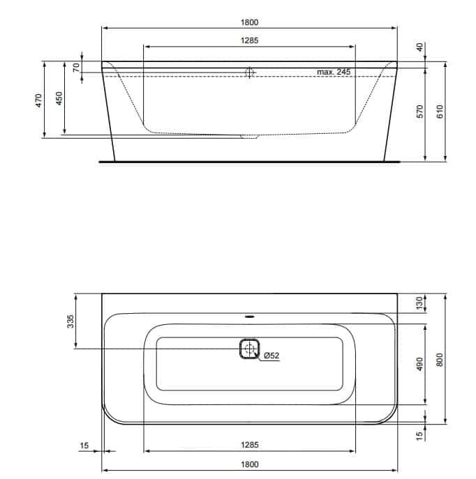 Baignoire Murale 180 X 80 Cm TONIC II Ideal Standard Salle