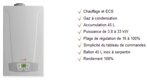 Chappe Initia Plus Duo accumulation 324 HTE Chaudire gaz murale condensation Chaudire gaz