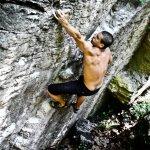 Daniel Pérez en El Trapezista 6c+ en La Riba