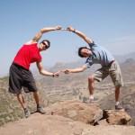 Edu Marin y Marco Jubes en la cima de Costa Brava 8a - Foto coleccion Edu