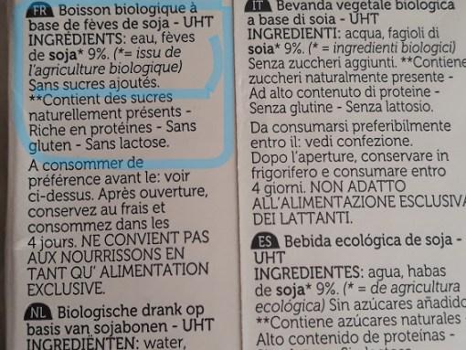 description du lait de soja sans conservateur sans additif