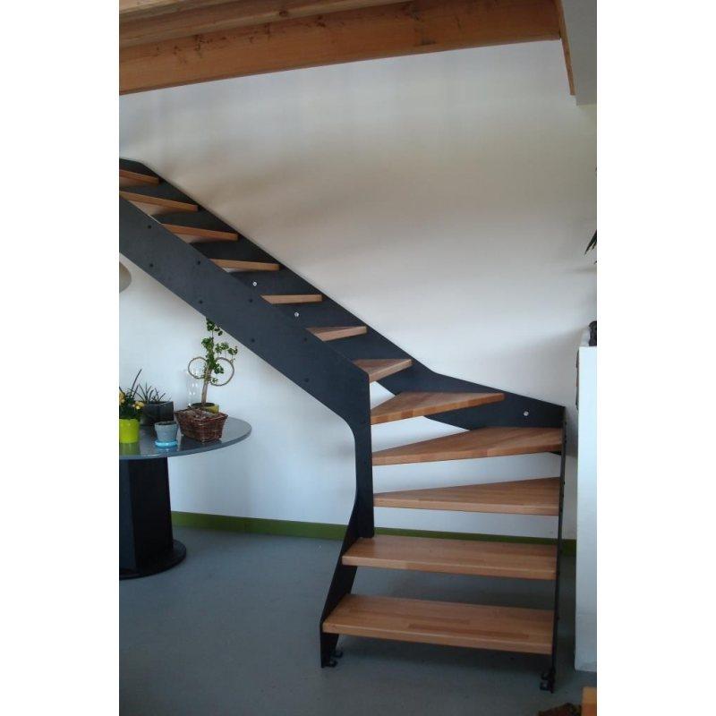 imagine linear 1 4 tournant escalier bois metal