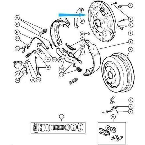 Opěrná deska,zadní pravé bubnové brzdy 5017760AA Jeep