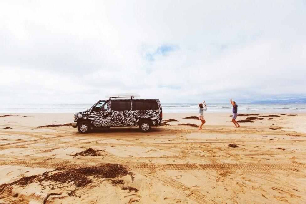 Dancing on the beach campervan