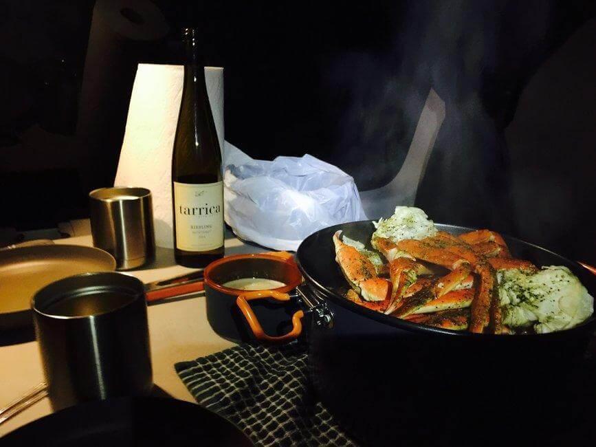 Crab pot for campervan dinner